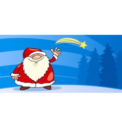 Santa Claus with star cartoon card vector image vector image