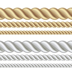 Set of different thickness ropes vector image vector image