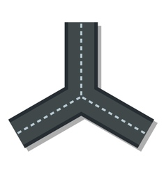 Three roads icon flat style vector