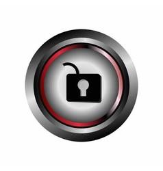 Unlock cristal glossy button vector