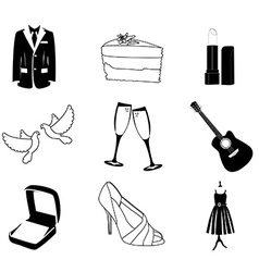 Wedding icons silhouette vector image