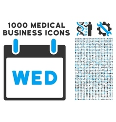 Wednesday calendar page icon with 1000 medical vector