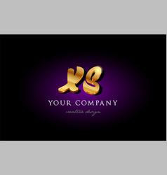 Xs x s 3d gold golden alphabet letter metal logo vector