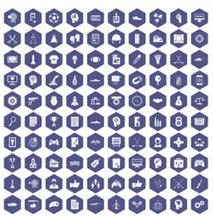 100 strategy icons hexagon purple vector