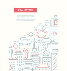 Real estate - line design brochure poster template vector