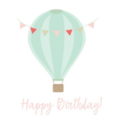 happy birthday card with banner and air balloon vector image
