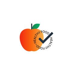 Red apple with healthy food seal icon vector