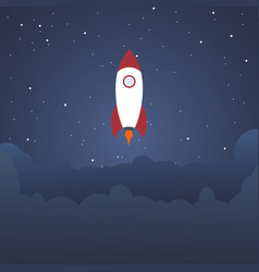 Rocket and the space evening rocket launch vector