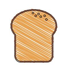Color drawing pencil cartoon slice of bread vector