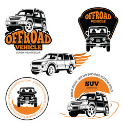 Off-road vehicle labels or logos set isolated on vector