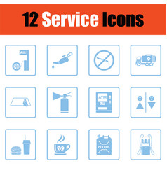 Set of twelve petrol station icons vector