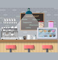 Interior of coffee shop pub cafe or bar vector