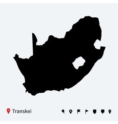 High detailed map of transkei with navigation pins vector