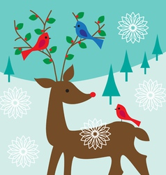 Birds on antlers vector