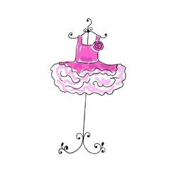 Magnificent pink dress with flounces on a hanger vector