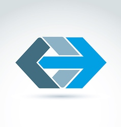 Abstract emblem with blue arrow  right direction vector