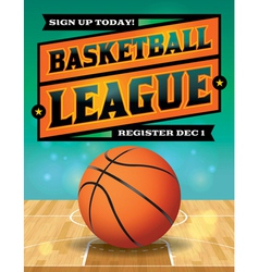 Basketball league flyer vector