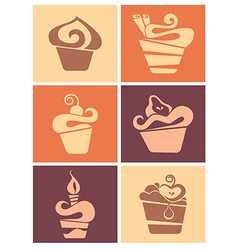Cakes collection vector