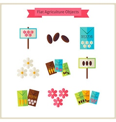 Flat flower agriculture objects set vector