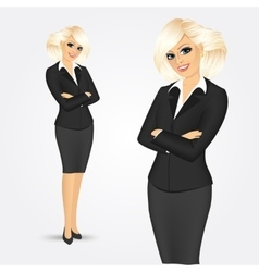 Beautiful woman standing with arms folded vector