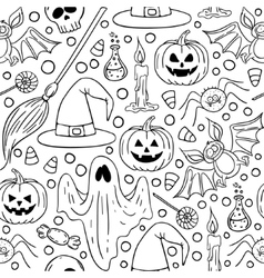 Halloween seamless black and white pattern vector