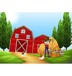 Farmer working in the farm outside vector