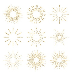Set of vintage handdrawn sunbursts vector