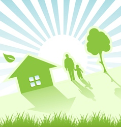 Child house and tree vector