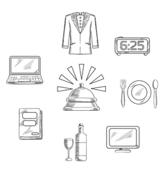 Luxury hotel service icons and symbols vector