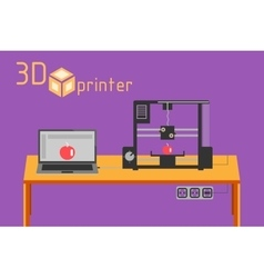 3d printer flat style on colored background vector