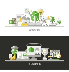 Online education e-learning concept compositions vector