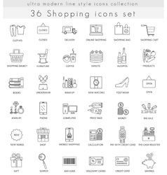 shopping ultra modern outline line icons vector image