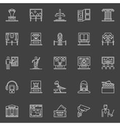 Museum linear icons set vector