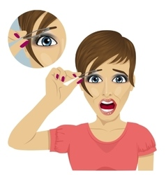 Woman plucking her eyebrows with tweezers vector