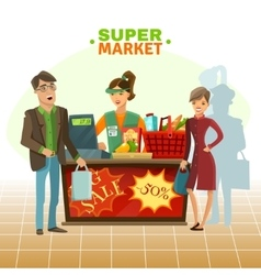 Supermarket cashier cartoon vector
