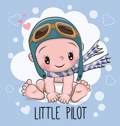 Baby boy in a pilot hat vector