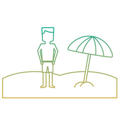 Beach tropical man standign with open umbrella vector