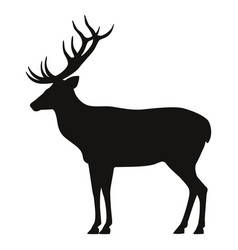 Black silhouette horned deer icon side view vector