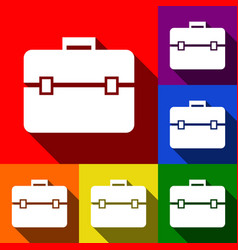 briefcase sign set of icons vector image