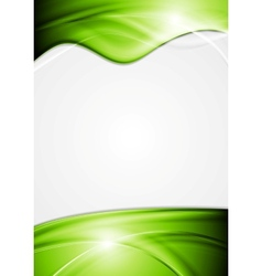 Bright flyer with green waves vector image vector image