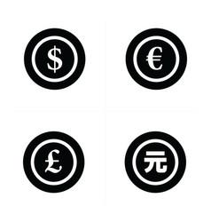 Coins icon dollars euro pound yuan vector