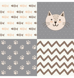Cute baby shower pattern with a cat vector image
