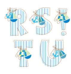Fabric patchwork alhabet letters r s t u vector