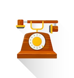Flat style vintage wooden dial phone icon vector