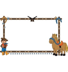 Frame with cowboy and horse vector