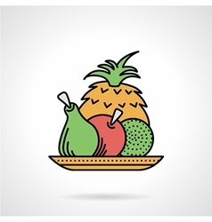 Fruit dish flat color icon vector image vector image