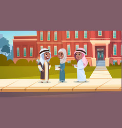 Group of arab pupils stand in front of school vector