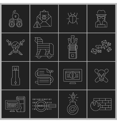 Hacker icons set outline vector image vector image
