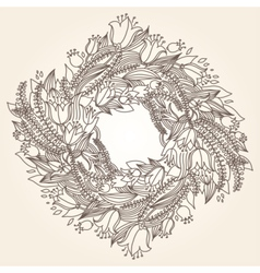 hairline circular floral wreaths vector image