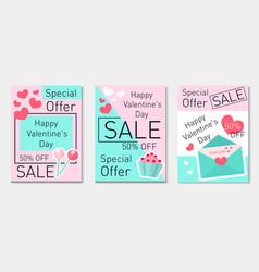 Happy valentine s day set flyer voucher in modern vector